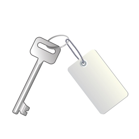 Key with label on white background
