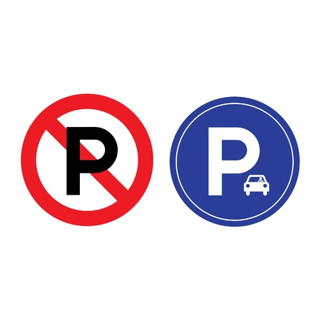 symbolization: parking and no parking sign on white background