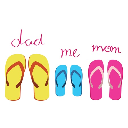 familys sandals on white background Vector