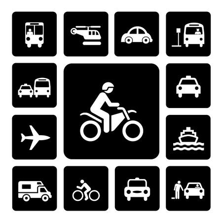 mode of transportation: Icon Set traffico su sfondo bianco isolato