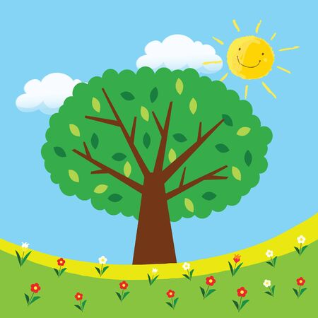nature tree in the morning Vector