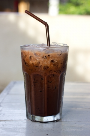 Ice chocolate drink in decorated tall glass Stock Photo