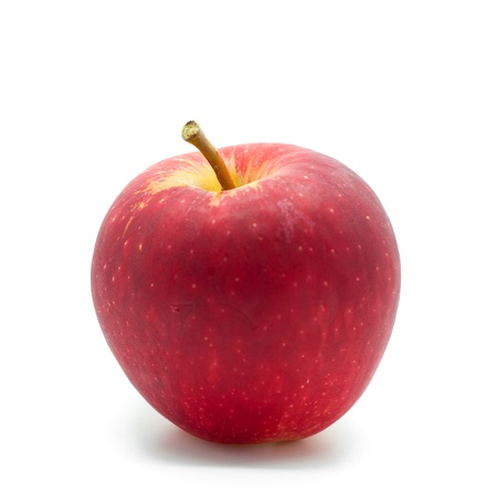 One red apple in closeup photo
