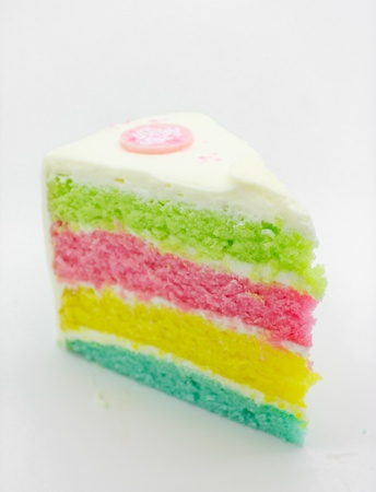 a slice of rainbow cake photo