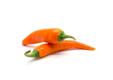 Orangr hot chili pepper isolated on a white background. Stock Photo