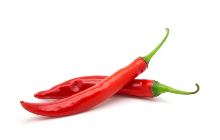 Hot red chili or chilli pepper isolated on white background. photo