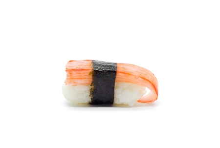 Crab stick Nigiri Sushi isolated on white. photo