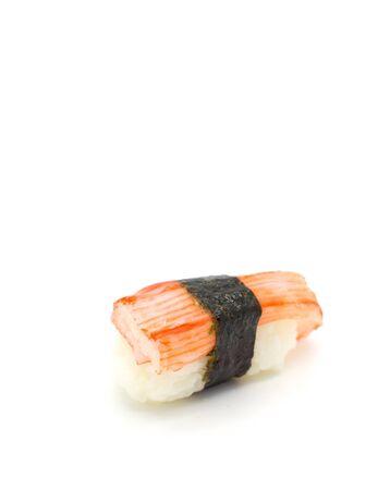 gastronome: Crab stick Nigiri Sushi isolated on white. Stock Photo
