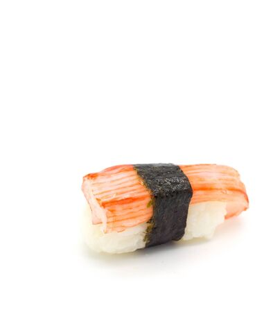 Crab stick Nigiri Sushi isolated on white. Stock Photo