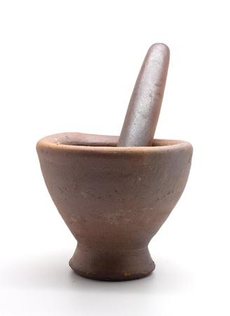 Mortar on white background photo