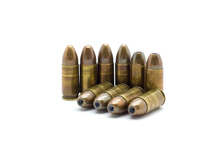 9mm bullet isolated on white background