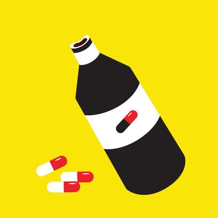 pill bottle: pill  bottle on a yellow background