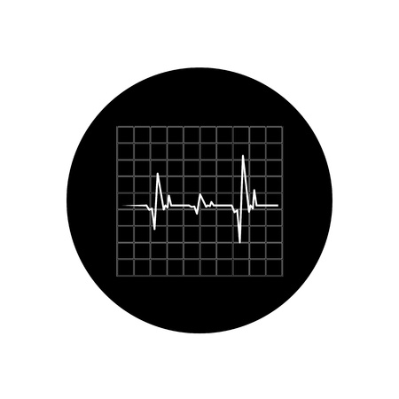 Vector cardiogram icon, Black and white Stock Vector - 21395275