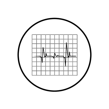 listening to heartbeat: cardiogram icon, Black and white  Illustration