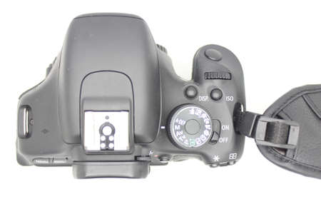 Digital camera on white background photo