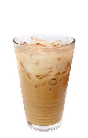 Ice coffee on white photo