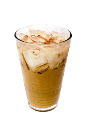 Ice coffee on white .