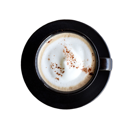 capuchino: top view of cappuccino coffee dress up in black cup Stock Photo