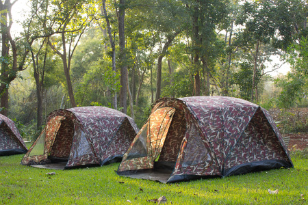 roughing: Camping tent from sunlight with silhouette trees in outdoor