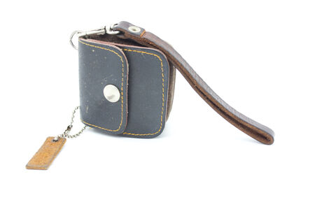brown purse isolated on white background photo