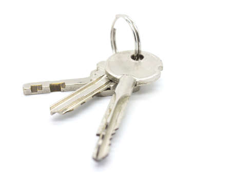 door keys on white background photo
