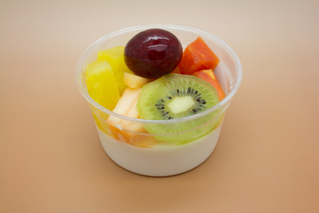 Feng tofu with fruit salad photo
