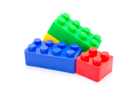 Lego Plastic building blocks on white background photo