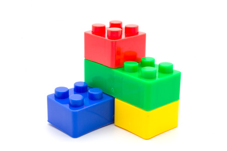 Lego Plastic building blocks on white background Stock Photo
