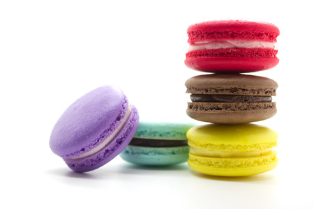A french sweet delicacy, macaroons variety closeup. photo