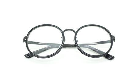 bifocals: Photo of black nerd glasses isolated on white