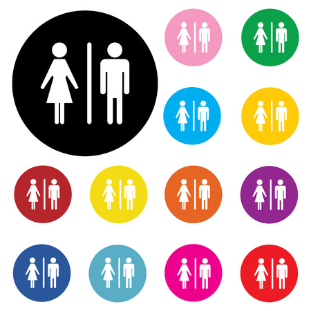 male and female: Male Female Restroom Symbol Icon with Color Variations. Illustration