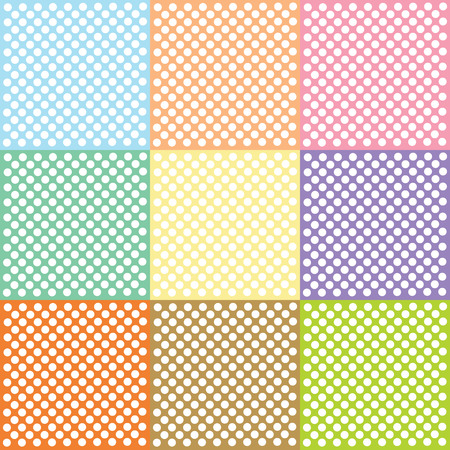 Seamless pattern of cute, fun and bold white polka dots patterns  Vector