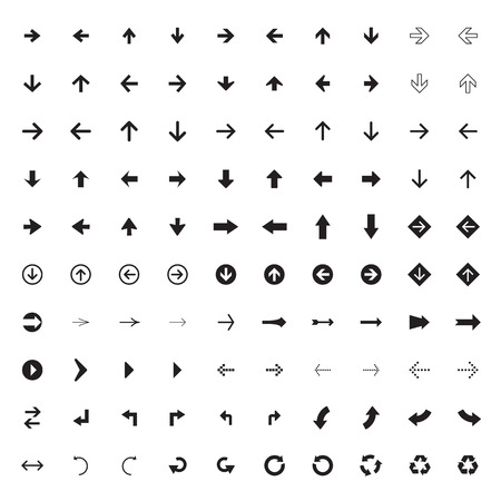 synchronize: 100 arrow sign icons with white background.