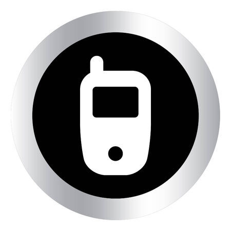 mobil: Mobile phone icon. Metallic internet button on white background.