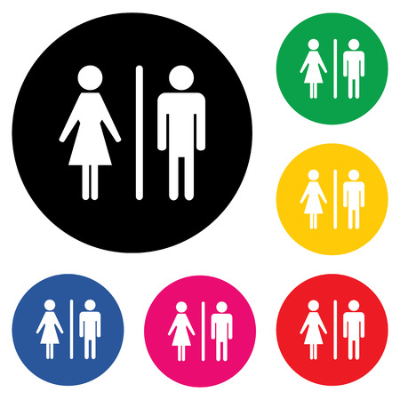 Male Female Restroom Symbol Icon with Color Variations. Çizim