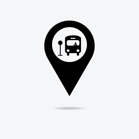 Map marker with Bus icon, vector illustration. Çizim
