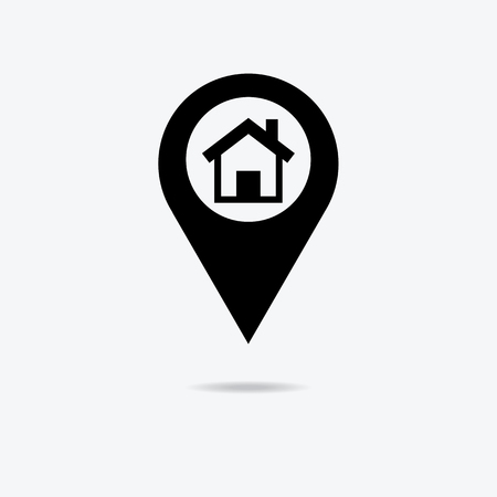 Map pointer house sign icon. Home location marker symbol. Çizim