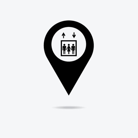 general warning: Map marker with lift icon, vector illustration.
