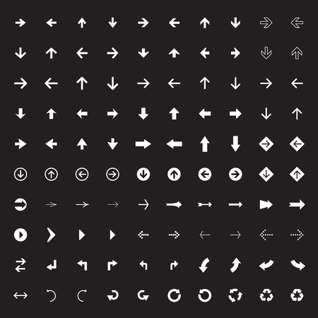 100 arrow sign icons with black background. Vector