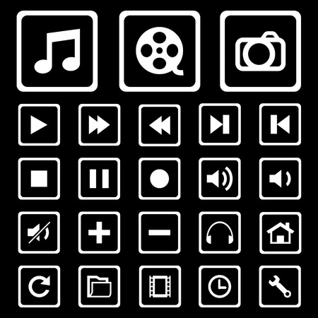 vcr: Modern media icons isolated for use.