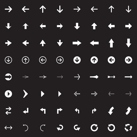 Arrow sign vector icon set. Simple circle shape internet button. Vector