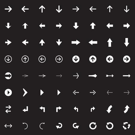 Arrow sign vector icon set. Simple circle shape internet button. Vector