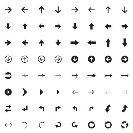 Arrow sign vector icon set. Simple circle shape internet button.