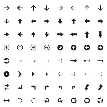 top pointer: Arrow sign vector icon set. Simple circle shape internet button.