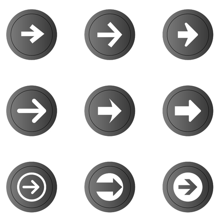 electric hole: Arrow sign vector icon set. Simple circle shape internet button.