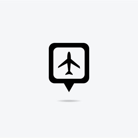 Map marker with icon of airplane Vector