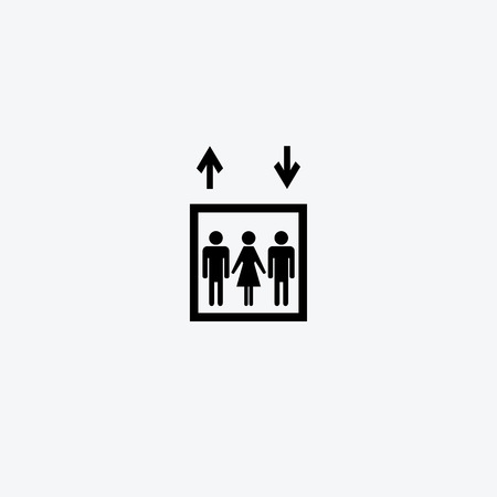general warning: Elevator sign icon. Person symbol with up and down arrows.