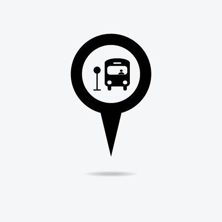 Map marker with Bus icon, vector illustration. Vector
