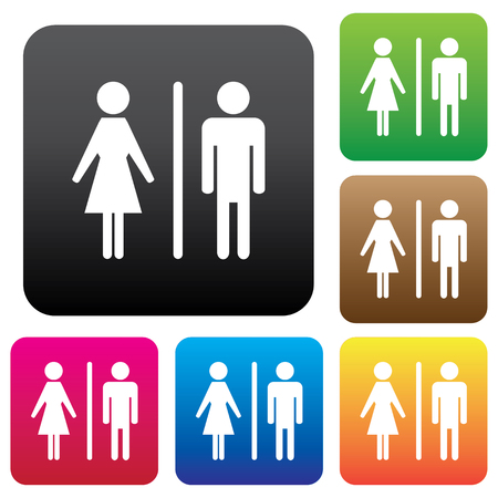 raster sex: Male Female Restroom Symbol Icon with Color Variations. Illustration