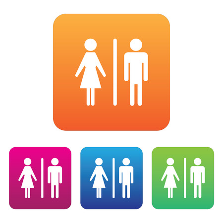 raster sex: Male Female Restroom Symbol Icon with Color Variations. Stock Photo